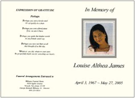 Order Of Service For Funeral Template Free