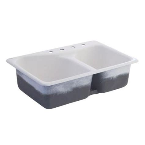 American Standard Cast Iron Kitchen Sinks American Standard Offset Top Mount Cast Iron 33x22x9 75 4 Bowl Kitchen Sink In
