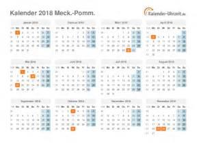 Kalender 2018 Mit Feiertagen Mv Feiertage 2018 Meck Pomm Kalender