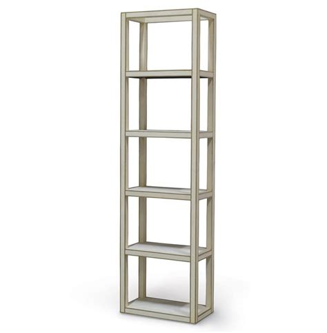 Etagere 6 Cases by Chateau Ivory Regency Faux Shagreen Etagere