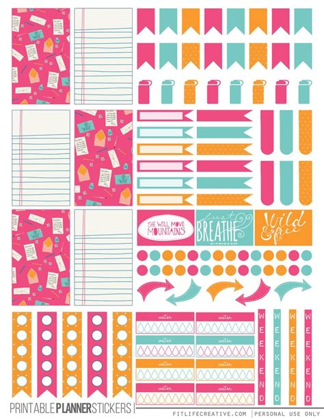 free printable planner pages classic size colorful correspondence free printable planner stickers