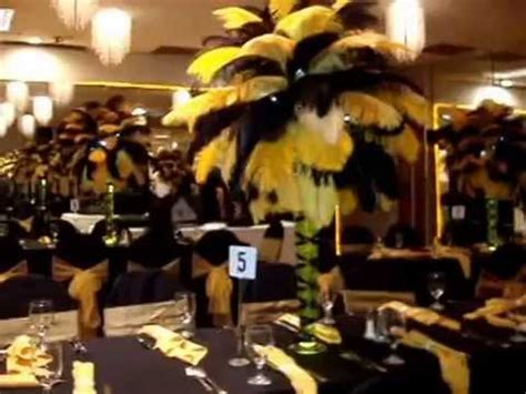 Gold Eiffel Tower Vases Black Amp Gold Ostrich Feather Centerpieces At The Charisma
