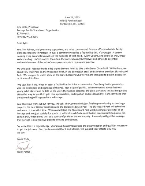 Letter Of Support For Council Housing letters support letter support mayor tierney portage