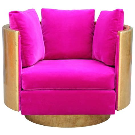 Ultra Glam Modern Gold Leaf And Hot Pink Velvet Swivel Pink Swivel Chairs