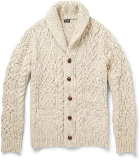 J Crew Chunky Cable Knit Cardigan In Beige For Lyst