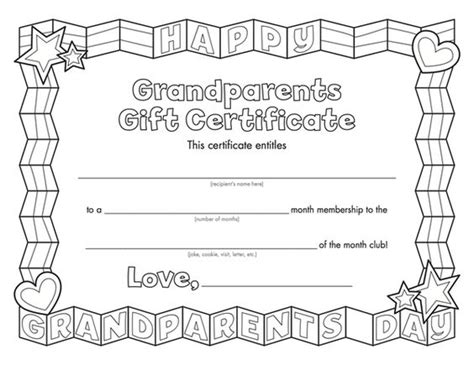 grandparents day template grandparent s day certificate this weekend colors and