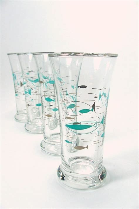Fish Bar Ware Atomic Fish Turquoise Glass Mad Retro Libbey Fish