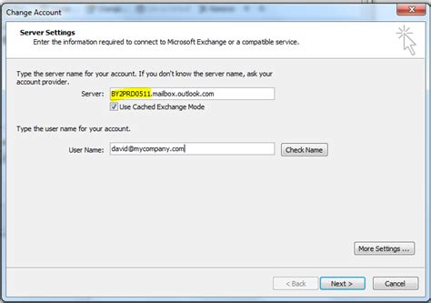 Exchange Server Name Office manually connect outlook to office david vielmetter
