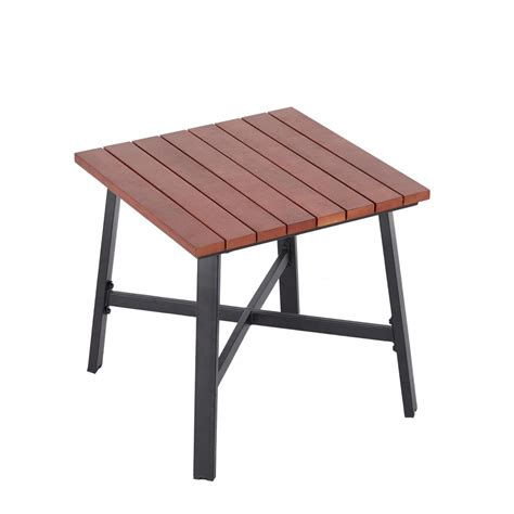 hton bay woodbury patio accent table d9127 ts the outside accent tables hton bay plaza mayor square wood