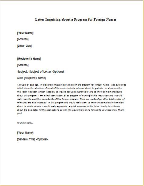 Inquiry Letter For Nurses Formal Official And Professional Letter Templates Part 14