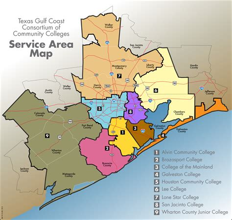 area map member community colleges in gulf coast tx tgcccc