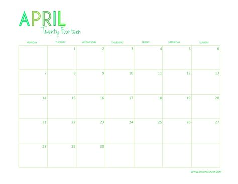 april 2014 free desktop calendar