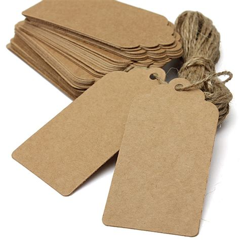 Gift Tags - 100 brown kraft paper gift tags present scallop label