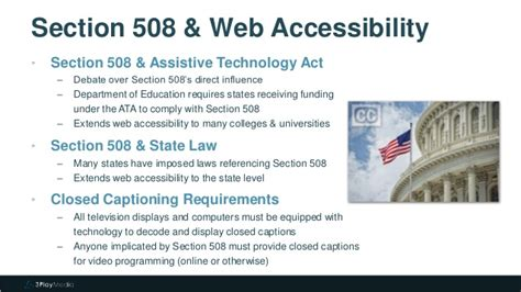 section 504 requirements section 508 and 504 video captioning requirements