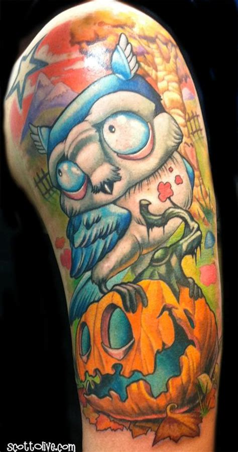 tattoo nightmares halloween tr st owl on pumpkin by scott olive tattoos