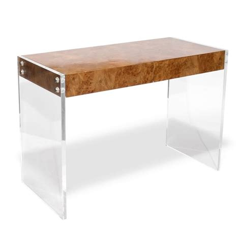 burl wood lucite desk work