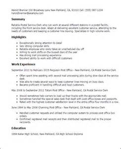 Job Resume Mail by Professional Postal Service Clerk Templates To Showcase