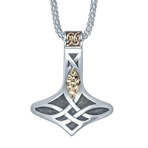 nordic thor s hammer necklace with 10k gold landing company