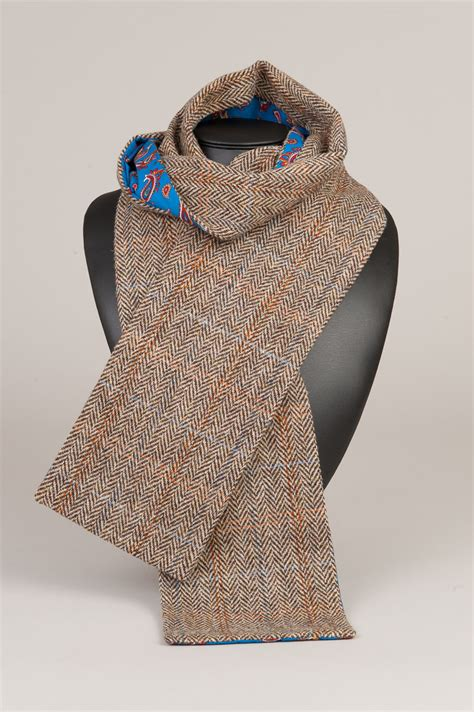 harris tweed scarf brown paisley dunmore scotland