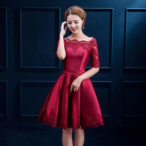 Dress Imlek aliexpress buy scoop neck lace satin cocktail dress burgundy 2017 knee length