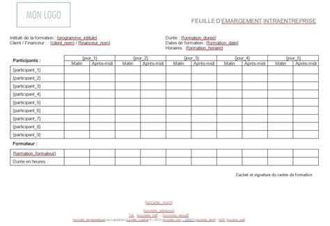 Feuille D émargement Modèle mod 232 les de programmes feuille d 233 margement intra