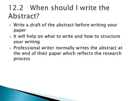 how to write your research paper chapter 12 abstract for writing research papers