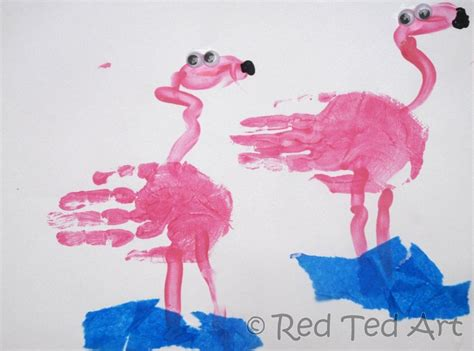 flamingo craft projects handprint alphabet f is for flamingo ted s