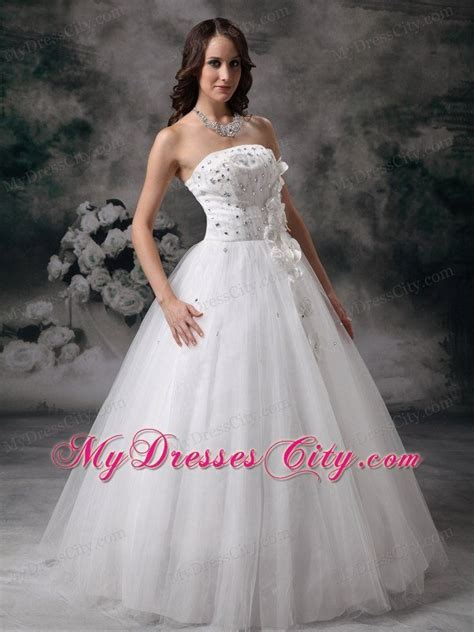 Discount Strapless A line Jewelry Bridal Dress with