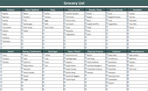 printable shopping list south africa grocery list template