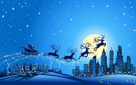 christmas night santa claus   city winter full moon blue wallpaper hd