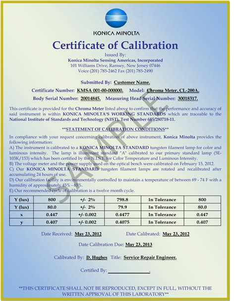 calibration certificate template repair and tech support services konica minolta