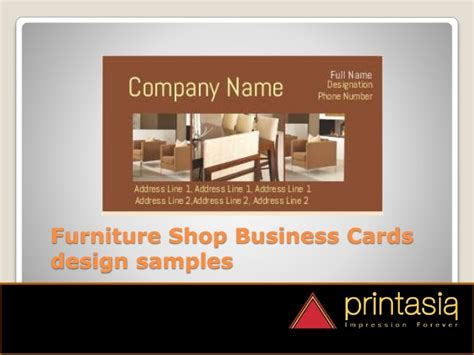 Usm Business Card Template by Furniture Shop Visiting Card Sles Printasia In
