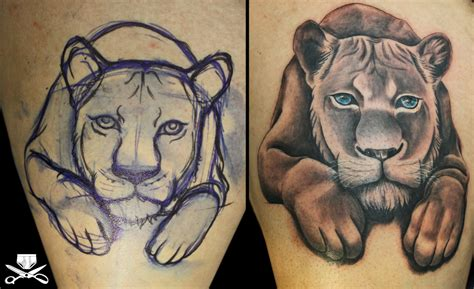 lion with cub tattoo designs cub hautedraws