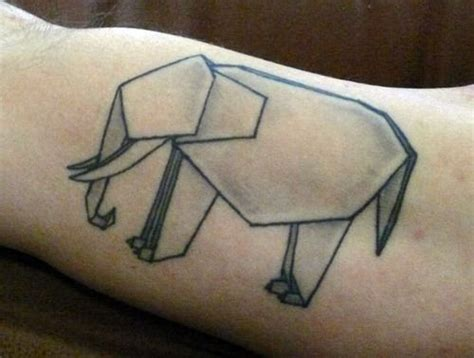 Origami Tattoos - origami elephant tattoos ink