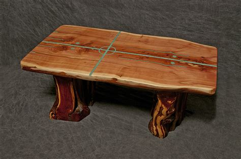 Turquoise Inlay Table by Buy A Crafted Cedar Slab Table With Living