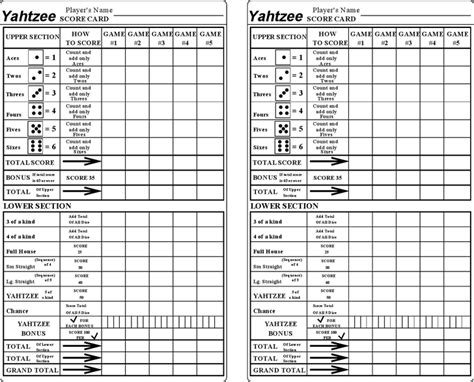 yahtzee card template yahtzee score sheets template free speedy