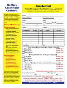 Hvac Service Contract Template by Hvac Maintenance Contract Forms Free Printable Documents