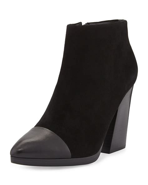 burch rivington suede cap toe ankle boot in black lyst
