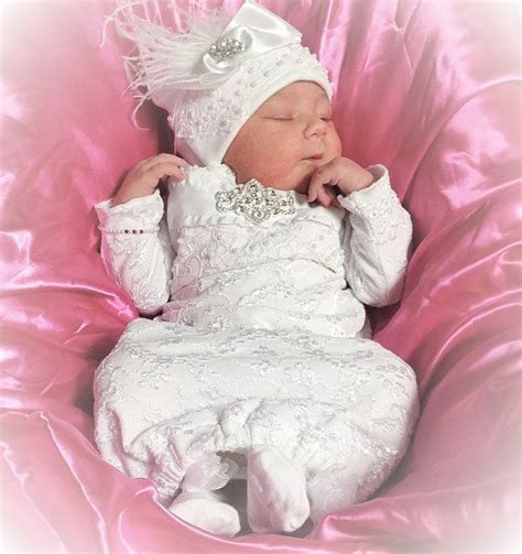 newborn baby infant layette white lace coming home