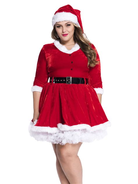 2 pieces half sleeves plus size womens santa outfit red white