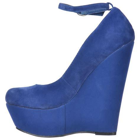 onlineshoe blue suede wedge platform shoes ankle