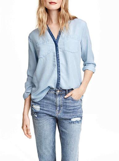 light denim shirt womens womens sleeved denim shirt light blue blue trim