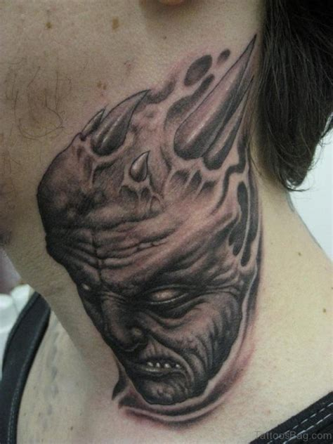 evil tattoo on neck 49 colorful evil neck tattoos