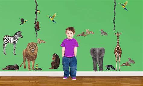 wandtattoo wilde tiere kinderzimmer wandsticker dschungel tiere regenwald komplettset