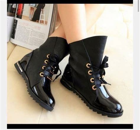 shoes black patent leather combat boots wheretoget