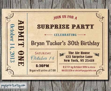 admit one ticket invitation template 6 best images of free printable admit one invitations