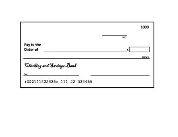 blank check template for students blank check template by elementary techie tpt