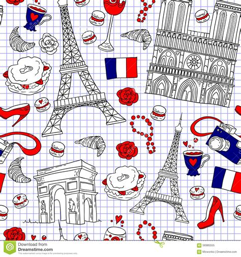 travel pattern in french paris pattern stock vector image 56985555