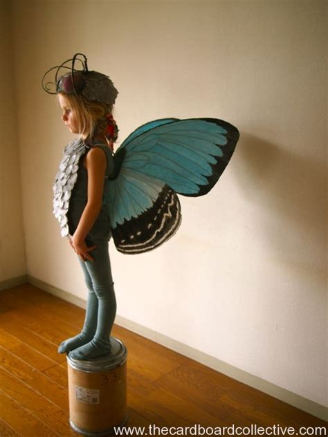 How To Make Paper Wings For A Costume - blue butterfly wings the cardboard collective