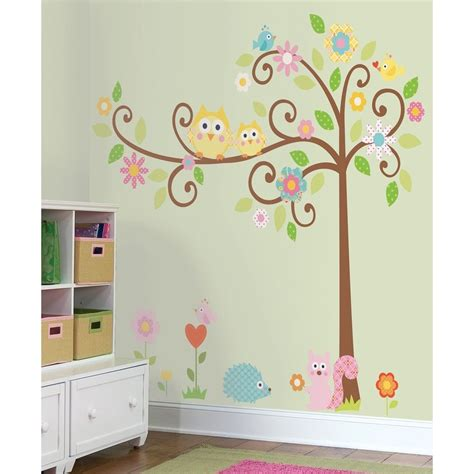 New Giant Scroll Tree Wall Decals Baby Nursery Stickers Baby Wall Decals For Nursery